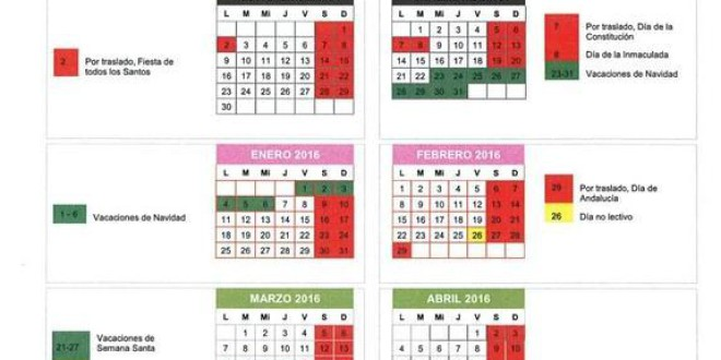 Calendario escolar en Granada para el curso 2015-2016: fiestas, inicio y fin de clases