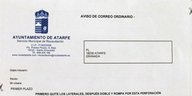 ATARFE: Los vecinos recibirán en sus domicilios una carta para pagar la contribución en dos plazos