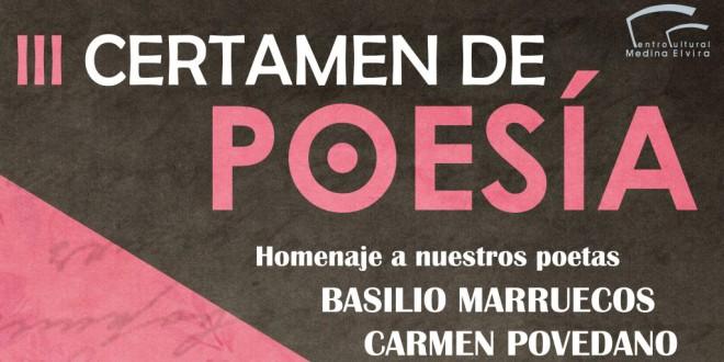 """III CERTAMEN DE POESIA """" HOMENAJE A NUESTROS POETAS"""" Carmen Povedano y Basilio Marruecos"""
