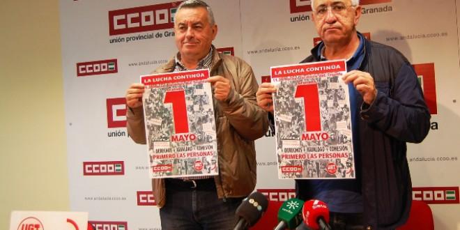 UGT y CCOO llaman a salir a la calle el 1 de Mayo en Granada a las 11:30 desde el Triunfo , para exigir al nuevo Gobierno que se ocupe de las personas.