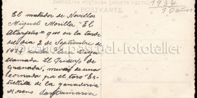 """EL NOVILLERO ATARFEÑO MURIO DE LA CORNADA QUE LE INFIRIO """"ESTRELLITO"""" EN LA ANTIGUA PLAZA DEL TRIUNFO DE GRANADA (y 2ª parte)"""