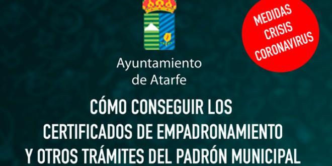 ATARFE: Cómo conseguir los Certificados de Empadronamiento y otros Trámites del Padrón Municipal