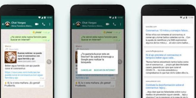 Whatsapp permite ya comprobar si el mensaje que has recibido es un bulo