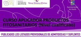 """LISTADOS PROVISIONALES DE ADMITIDOS/AS EN EL CURSO """"APLICADOR DE PRODUCTOS FITOSANITARIOS"""""""
