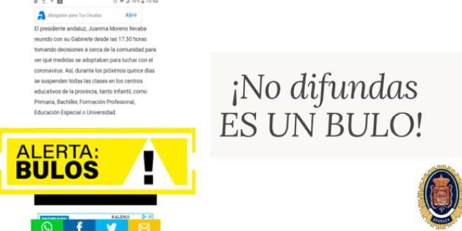 La policía alerta del bulo que asegura que se cierran los colegios en Andalucía