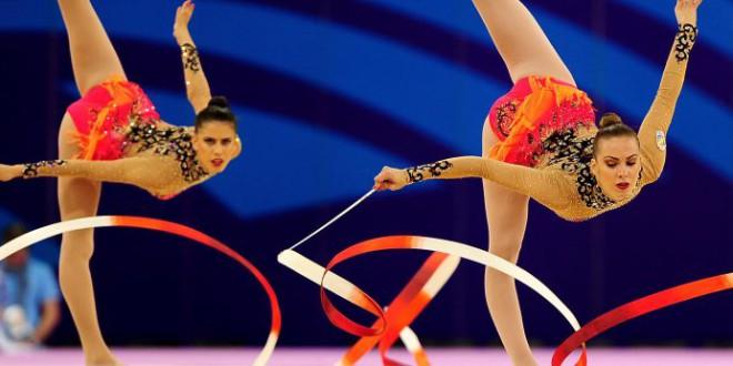 El grupo de españolas de gimnasia rítmica campeonas de la Copa del Mundo celebrada en Espoo (Finlandia).