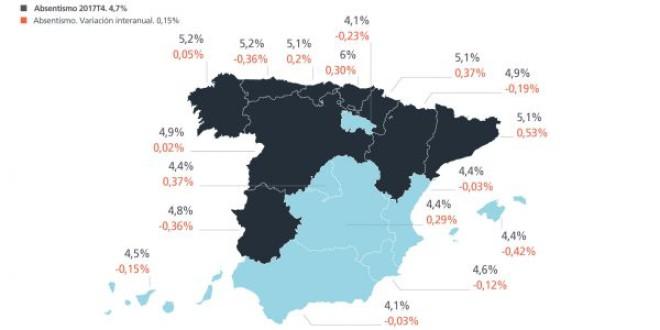 Y la Comunidad Autónoma con menor absentismo laboral es… ¡Andalucía!