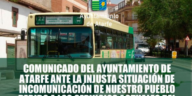 ATARFE: COMUNICADO DEL AYUNTAMIENTO POR LA PROBLEMÁTICA DE LOS AUTOBUSES