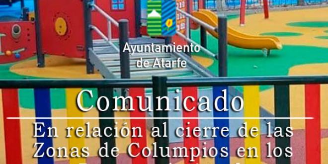 COMUNICADO EN RELACIÓN AL CIERRE DE LAS ZONAS DE COLUMPIOS EN LOS PARQUES DE ATARFE