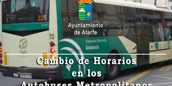 ATARFE: CAMBIO DE HORARIO EN LOS AUTOBUSES METROPOLITANOS A PARTIR DEL 24 DE MAYO