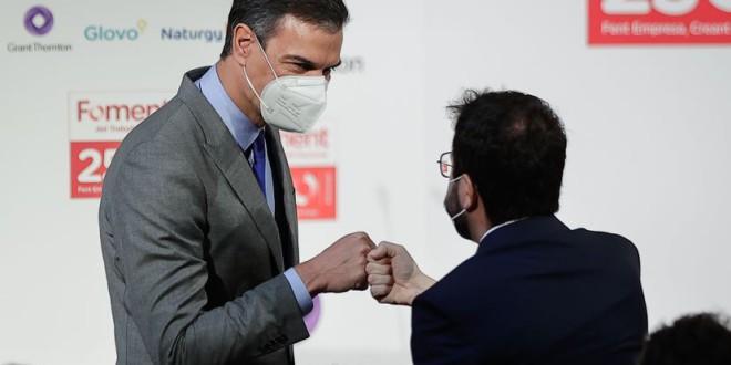 """Sánchez, en un acto con Aragonès: """"No busquemos revanchas, sino soluciones, con pragmatismo, honestidad y sentido común"""""""