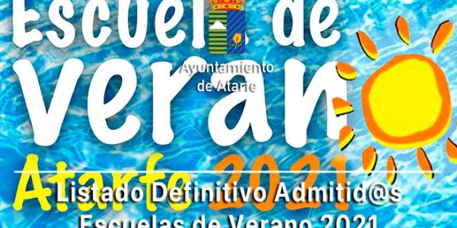 ATARFE: Publicada la Lista Definitiva de Admitid@s en las Escuelas de Verano 2021