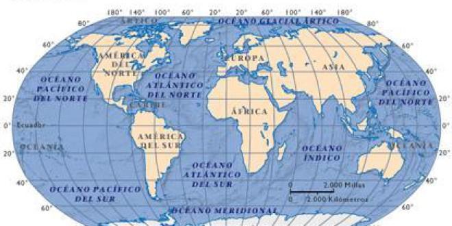 El origen del nombre de los océanos de la Tierra