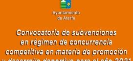 ATARFE: Publicada la convocatoria de subvenciones en régimen de concurrencia competitiva en materia de promoción y desarrollo deportivo para el año 2021